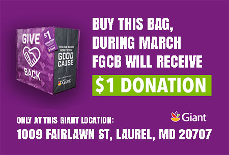 FGCB will receive a $1 donation for every reusable $2.50 Community Bag purchased at the Giant Food Store, 1009 FAIRLAWN ST, LAUREL.